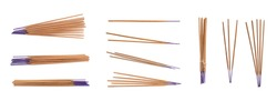 Set with aromatic incense sticks on white background. Banner design