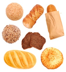 Set with assorted bread isolated on white