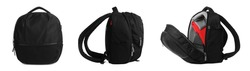 Set with backpacks for camera on white, banner design. Professional  photographer's accessory