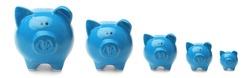 Set with blue piggy banks on white background. Banner design