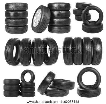 Set with car tires on white background #1162038148