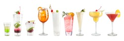Set with cocktails on a white background. Isolated. Banner.