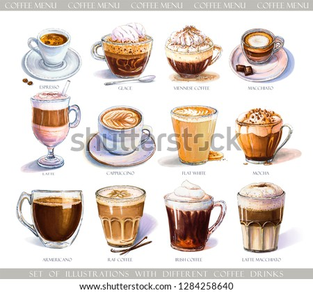 Set with coffee drinks for cafe or coffeehouse menu. Illustration of strong espresso, gentle latte, sweet macchiato and cappuccino, Viennese coffee and glace. Markers, watercolor.