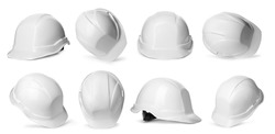 Set with construction safety hardhat on white background. Banner design