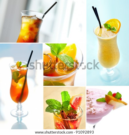 Set with cooling cocktails with fresh fruits, mint and ice cubes.