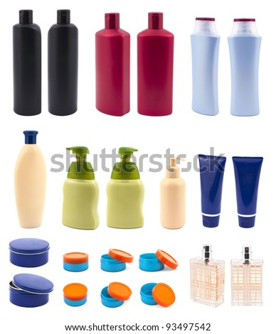 Set with cosmetic bottles isolated on white background