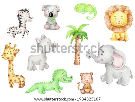 Set with cute animals: elephant, lion, koala, alligator, iguana, monkey, giraffe, rhinoceros; watercolor hand drawn illustration; can be used for kid posters or cards; with white isolated background