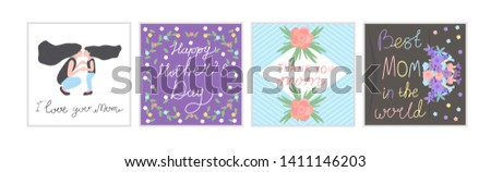 set with Daughter kissing her mother pattern with flowers for mother's day design template