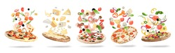 Set with delicious pizzas and flying ingredients on white background, banner design