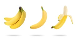 Set with delicious ripe bananas on white background. Banner design