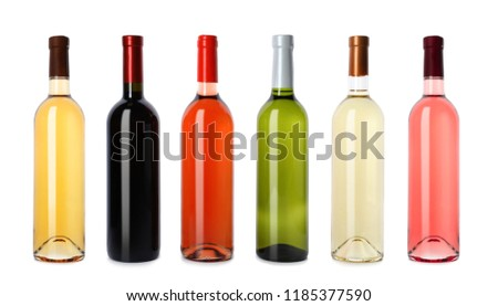 Set with different blank wine bottles on white background #1185377590