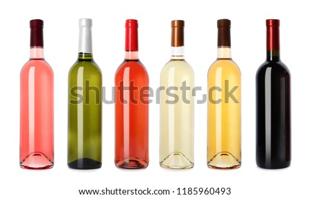 Set with different blank wine bottles on white background #1185960493