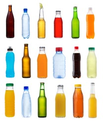 set with different bottles on white background