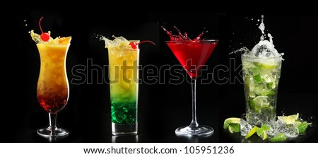 set with different cocktails on black background