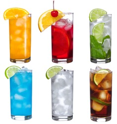 set with different cocktails  on white background