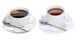 set with different cups of coffee and tea on white background