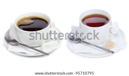set with different cups of coffee and tea on white background #95710795
