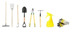 Set with different gardening tools on white background. Banner design