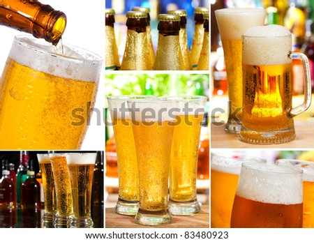 set with different glasses of beer