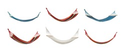 Set with different hammocks on white background. Banner design