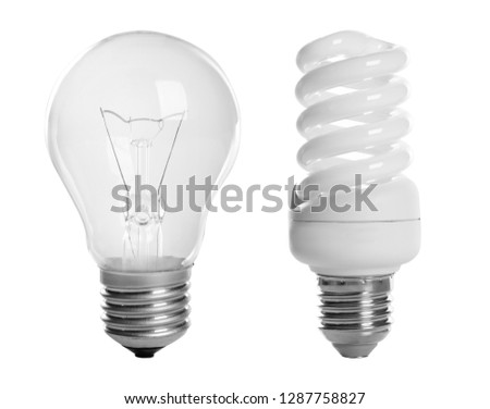 Set with different lamp bulbs on white background