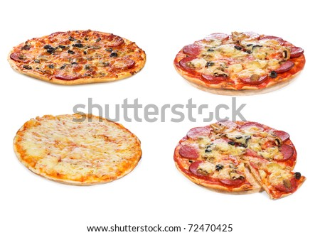 set with different pizza on white background - stock photo