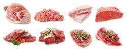 Set with different raw meat on white background
