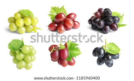 Set with different ripe grapes on white background #1185960400