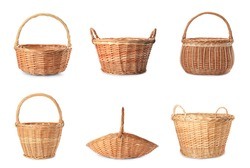 Set with different wicker baskets on white background