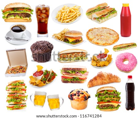 Set with fast food products on white background stock photo