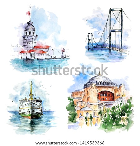 Set with ferry, Bosphorus Bridge, Maiden's Tower and Hagia Sophia, Istanbul, Turkey. Watercolor hand painted elements on white background.  Perfect for print, poster, card making and travel design.