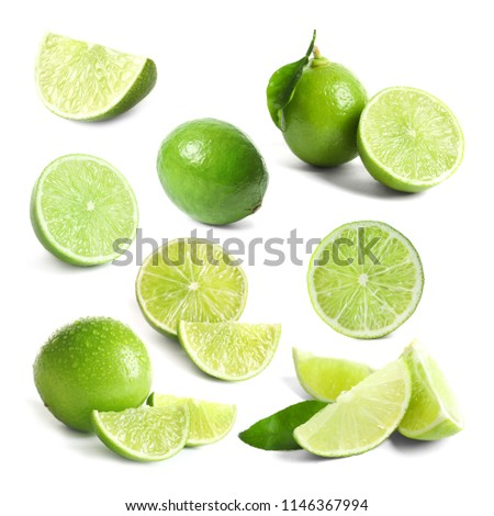 Set with fresh limes on white background #1146367994