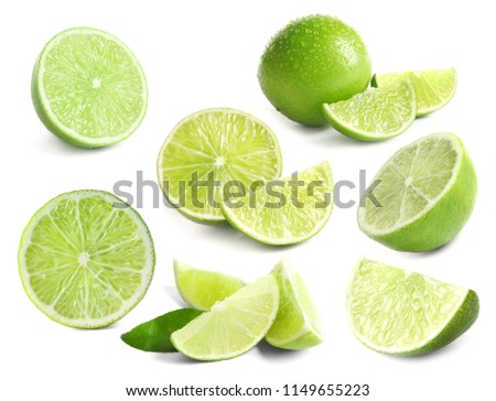 Set with fresh limes on white background #1149655223