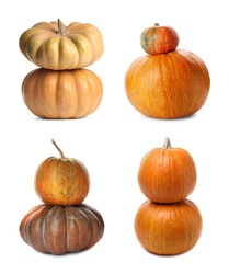 Set with fresh raw pumpkins on white background