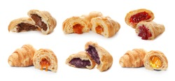 Set with fresh tasty croissants and different fillings on white background