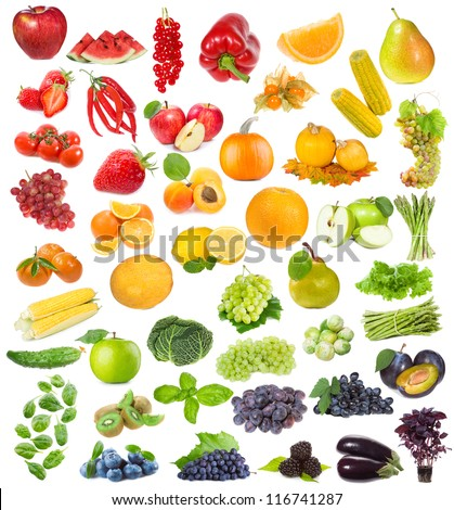set with fruits, berries and herbs on white background