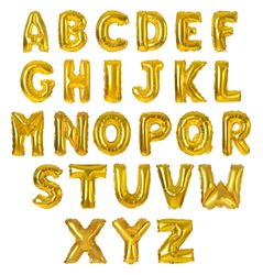 Set with golden foil balloons in shape of letters on white background