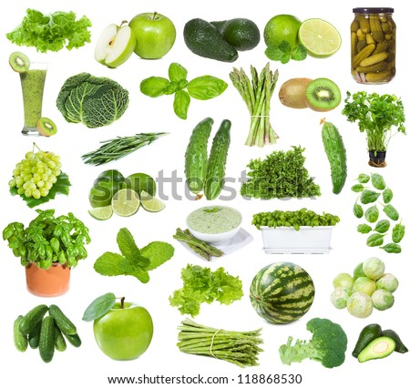 set with green food on white background