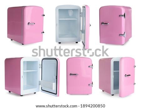 Set with mini refrigerators for cosmetics on white background  ストックフォト ©