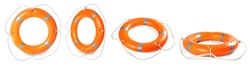 Set with orange life buoys on white background, banner design