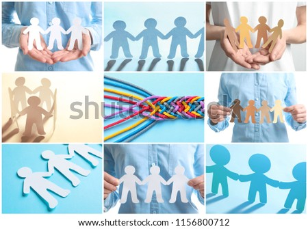 Set with paper people holding hands together and braided cords. Unity concept #1156800712