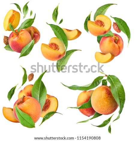 Set with peaches, five exclusive collages with flying peaches. High resolution image