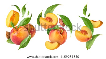 Set with peaches, three exclusive collages with flying peaches. High resolution image