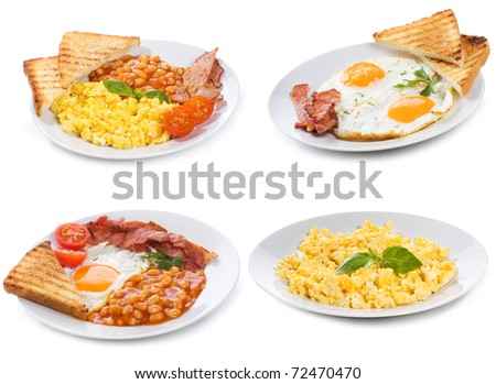 set with plates of fried and scrambled eggs on white background