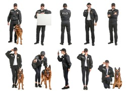 Set with police officers on white background
