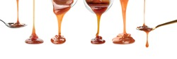 Set with pouring caramel sauce onto white background. Banner design
