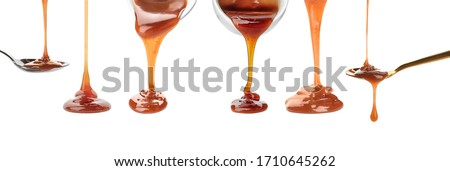 Set with pouring caramel sauce onto white background. Banner design Stock photo ©