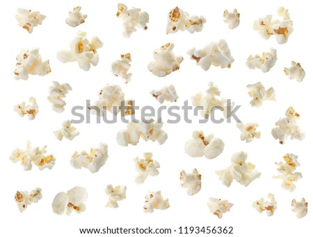 Set with tasty popcorn on white background #1193456362