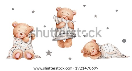 Set with three sleeping teddy bears, pillow and blanket; watercolor hand drawn illustration; can be used for baby shower or cards; with white isolated background