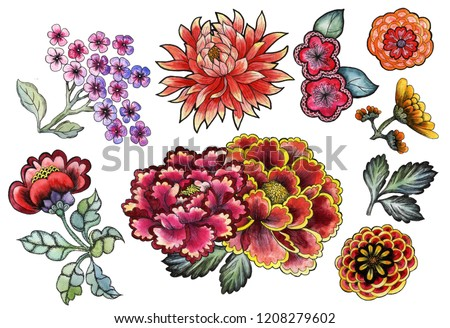 Set with traditional Asian watercolor flowers, chrysanthemums, peonies, dahlias, sakura on a white background. Asia culture symbols bundle. Chinese sketches. Asian drawings collection. China.